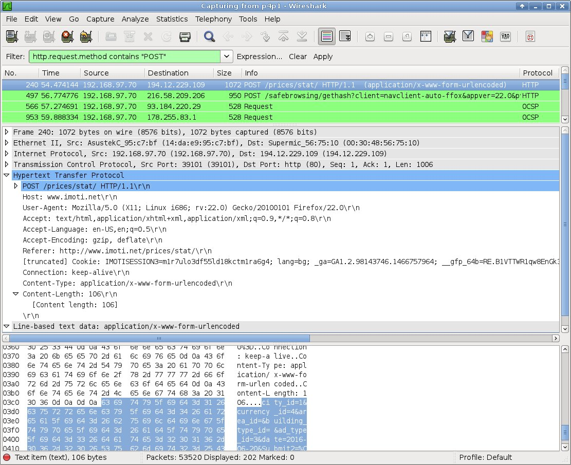Wireshark window with packets